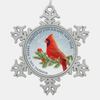 Red Cardinal Bird Merry Christmas ornament