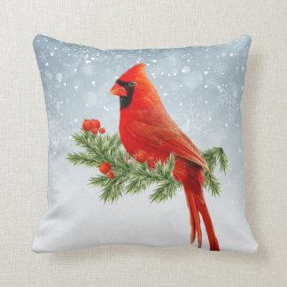 Red Cardinal Bird Merry Christmas pillow
