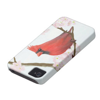 Red Cardinal Bird on a Cherry Blossom Tree iPhone 4 Case-Mate Case