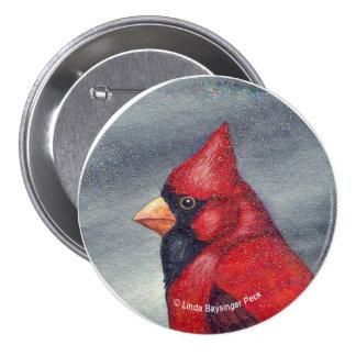 Red Cardinal Bird Round 3 Inch Round Button