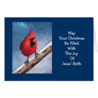 RED CARDINAL: BIRD: SNOW: ARTWORK CARD