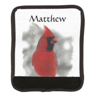 Red Cardinal Bird White Snow Luggage Handle Wrap