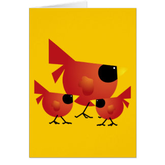 RED CARDINAL BIRDS CARTOON GRAPHICS CUTE HAPPY FAM GREETING CARD