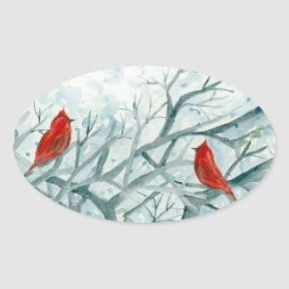Red Cardinal Birds Winter Trees Watercolor Oval Sticker