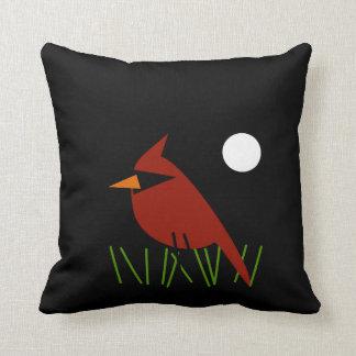 Red Cardinal by Moonlight Throw Pillow