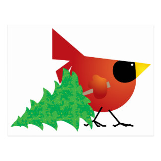 Red Cardinal Carrying Christmas Tree Postcard