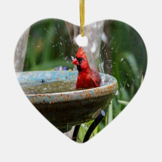 red cardinal ceramic ornament