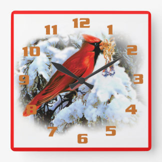 Red Cardinal Christmas Bells Rustic Holiday Square Wall Clock