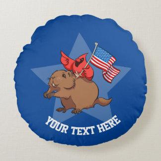 Red Cardinal & Groundhog USA Flag Cartoon And Text Round Pillow