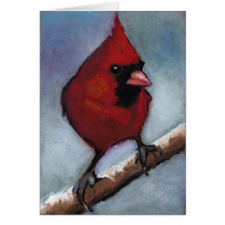 RED CARDINAL IN OIL PASTEL CARD