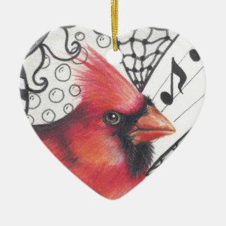 Red Cardinal in Zentangle print Ceramic Heart Ornament