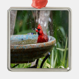 red cardinal metal ornament