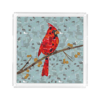Red Cardinal Mosaic Serving Tray