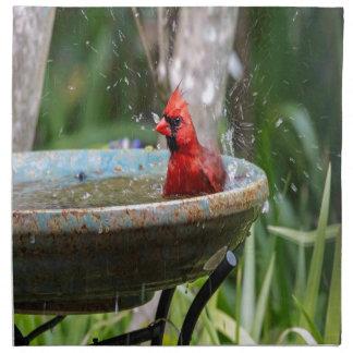 red cardinal napkin