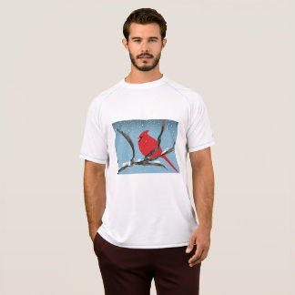 Red Cardinal On A Branch Mens Active Tee
