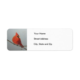 Red Cardinal on Branch in Pastels - Address Label