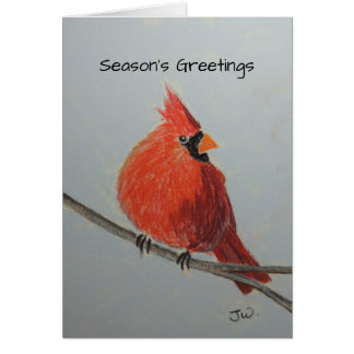 Red Cardinal on Branch in Pastels Greeting Card