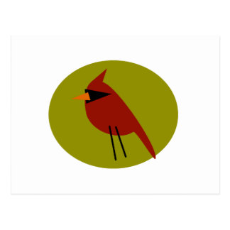 Red Cardinal on Olive Green Postcard