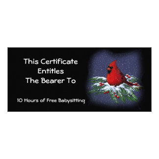 Red Cardinal on Snowy Branch: Gift Certificate