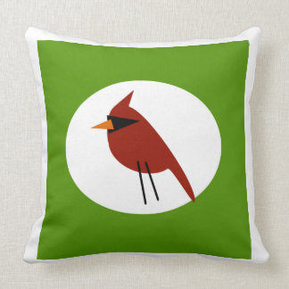 Red Cardinal on White & Green Throw Pillow