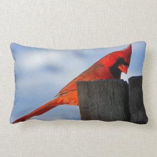 Red Cardinal on Wooden Stump Lumbar Pillow