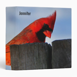 Red Cardinal on Wooden Stump Personalized Binder