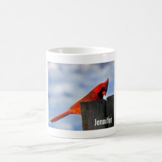 Red Cardinal on Wooden Stump Personalized Coffee Mug
