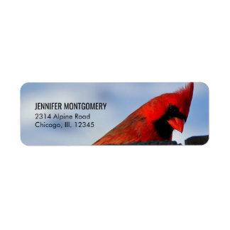 Red Cardinal on Wooden Stump Return Address Label