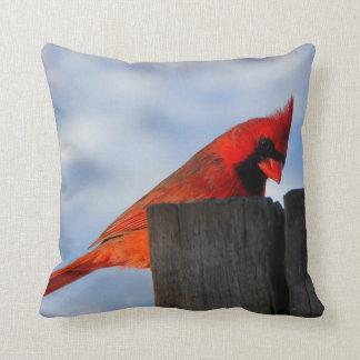 Red Cardinal on Wooden Stump Throw Pillow