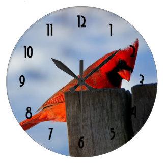 Red Cardinal on Wooden Stump Wallclock