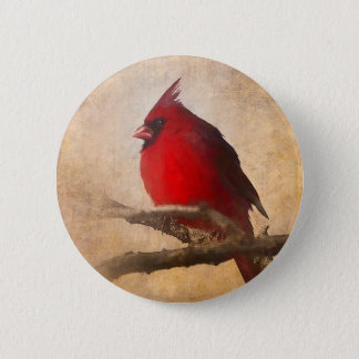 Red Cardinal Painting 2 Inch Round Button