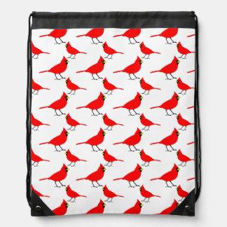 Red Cardinal Pattern Drawstring Bag