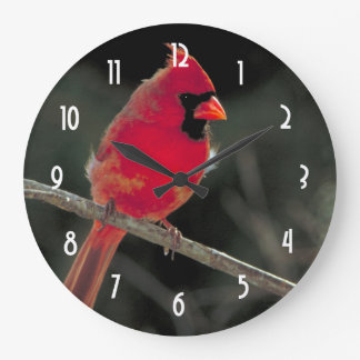 Red Cardinal Perched on a Tree Branch Large Clock