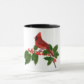 RED CARDINAL PERCHED ON HOLLY MUG