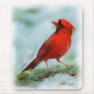 Red Cardinal Print Mouse Pad