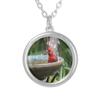 red cardinal silver plated necklace