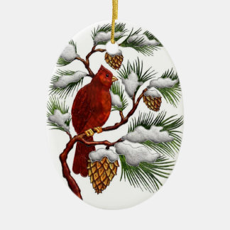 Red Cardinal with Pine Cones Christmas Ornament
