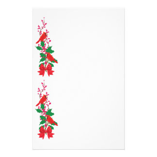 Red Cardinals on Holly Christmas Border Stationery