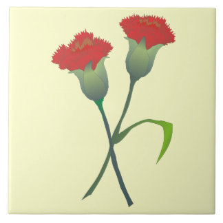 Red Carnation Buds Decorative Tile