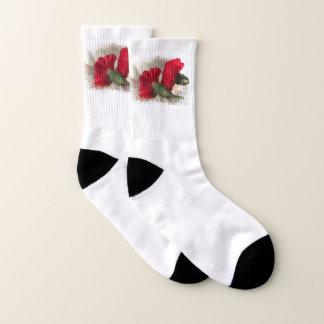 Red Carnation Flowers Floral Socks 1