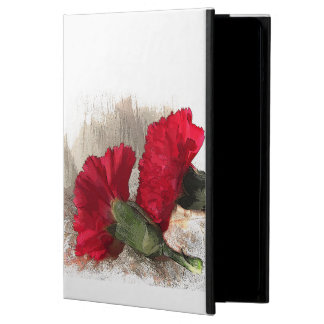 Red Carnation Flowers on Brocade iPad Air Cover