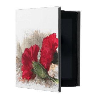 Red Carnation Flowers on Brocade iPad Folio Case