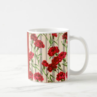 red carnations coffee mug