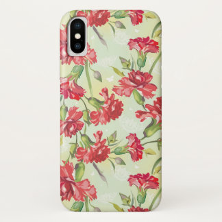 Red Carnations on green with butterflies iPhone X Case