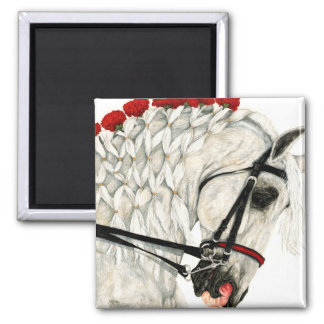 Red Carnations - White Horse Magnet