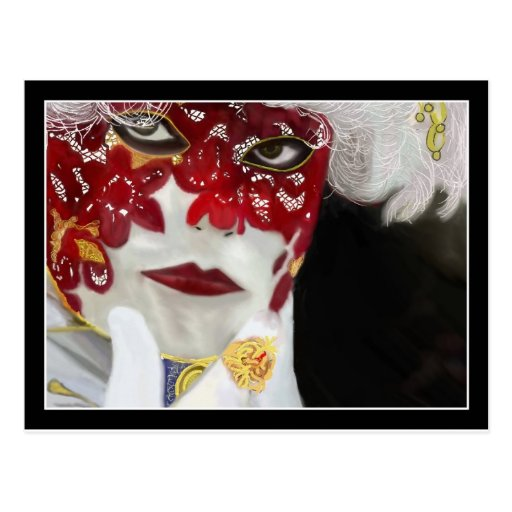 Red Carnival Lace Mask Post Card