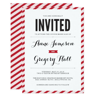 Red Carnival Stripes Modern Wedding Invitation
