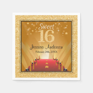 Red Carpet Hollywood Star Gold Sweet 16 Birthday Paper Napkins