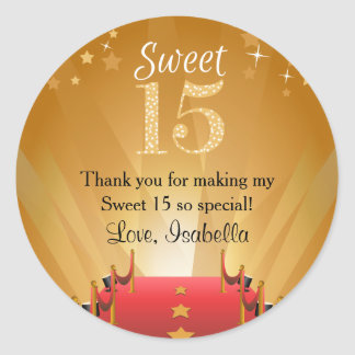 Red Carpet Hollywood Star Sweet 15 Favors Classic Round Sticker