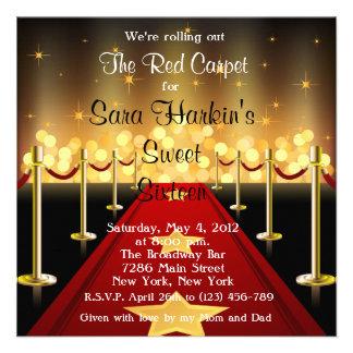 Red Carpet Hollywood Sweet 16 Birthday Invite